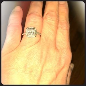 Halo Cubic Zirconium Silver Size 9 Women's Ring